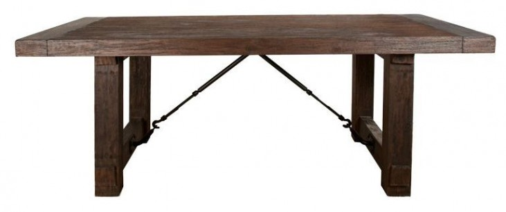 Carter Rustic Java Rectangular Extendable Trestle Dining Table