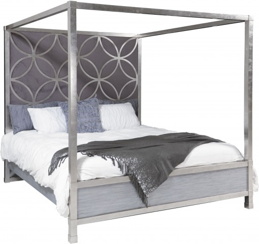 City Chic Quatrefoil Queen Upholstered Canopy Bed From Pulaski