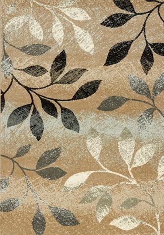 Casa Distressed Brown/White Leaves  Medium Rug