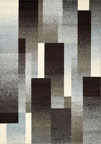 Casa Brown and Grey Overlapping Rectangles Rug