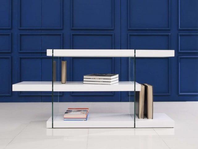 Il Vetro High Gloss White Lacquer Bookcase From Casabianca