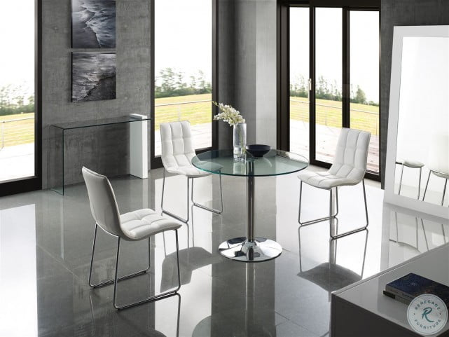 Forte Chrome Dining Room Set with Leandro Dining Chairs