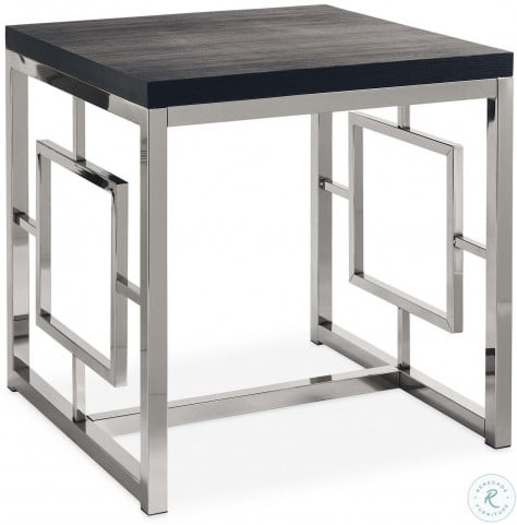 Harper Chrome And Black End Table