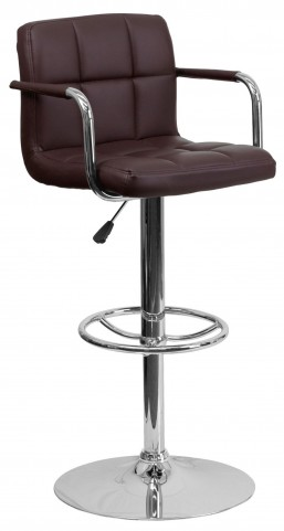 Brown Quilted Adjustable Height Arm Bar Stool