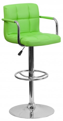 Green Quilted Adjustable Height Arm Bar Stool