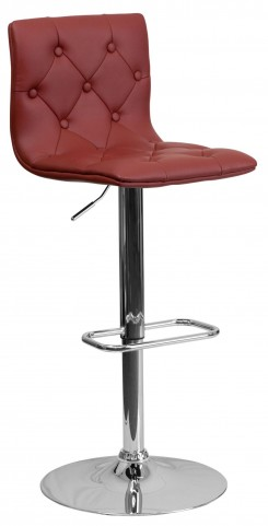 Tufted Burgundy Adjustable Height Bar Stool