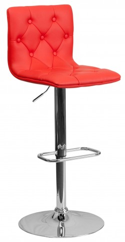 Tufted Red Adjustable Height Bar Stool