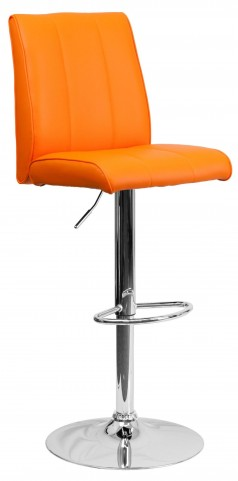 1000574 Orange Vinyl Adjustable Height Bar Stool