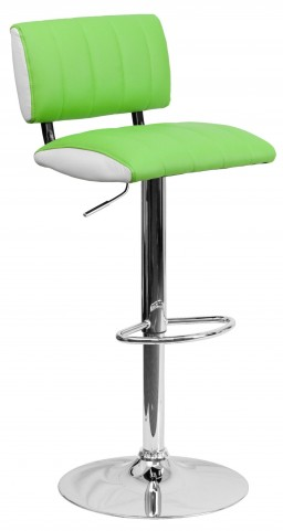 Two Tone Green & White Adjustable Height Bar Stool