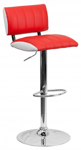 Two Tone Red & White Adjustable Height Bar Stool
