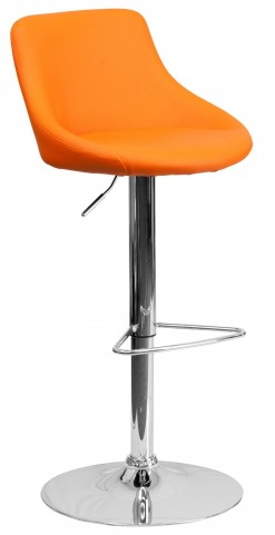 1000592 Orange Vinyl Bucket Seat Adjustable Height Bar Stool