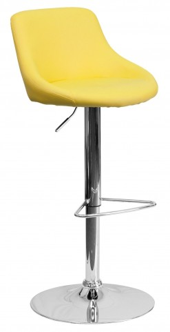 1000596 Yellow Vinyl Bucket Seat Adjustable Height Bar Stool