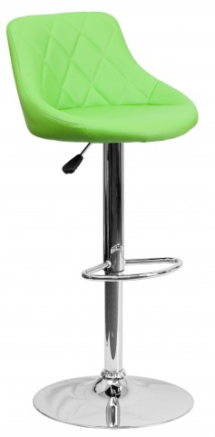 1000600 Green Vinyl Bucket Seat Adjustable Height Bar Stool