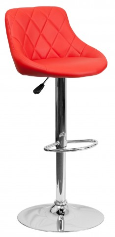 1000603 Red Vinyl Bucket Seat Adjustable Height Bar Stool