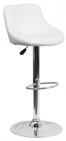 1000953 White Vinyl Bucket Seat Adjustable Height Bar Stool