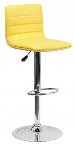 1000614 Yellow Vinyl Adjustable Height Bar Stool