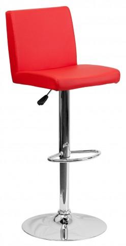 1000621 Red Vinyl Adjustable Height Bar Stool