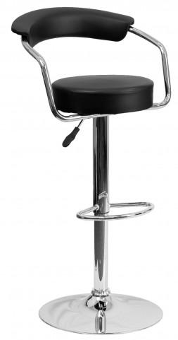 Black Adjustable Height Arm Bar Stool