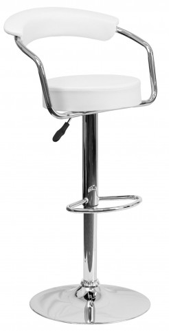 White Adjustable Height Arm Bar Stool