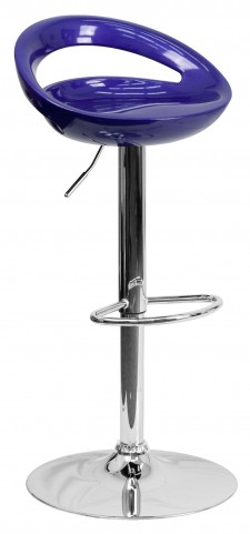 1000661 Blue Plastic Adjustable Height Bar Stool