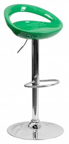 1000662 Green Plastic Adjustable Height Bar Stool