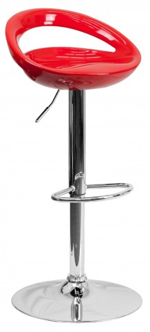 Red Plastic Adjustable Height Bar Stool