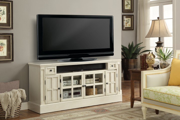 """Charlotte Antique Vintage White 62"""" TV Console With Power Center"""