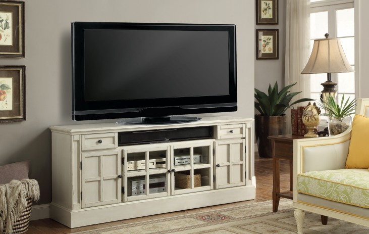 """Charlotte Antique Vintage White 72"""" TV Console With Power Center"""
