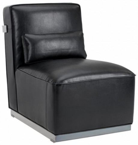 Brosnan Black Leather And Polished Stainless Steel Chair
