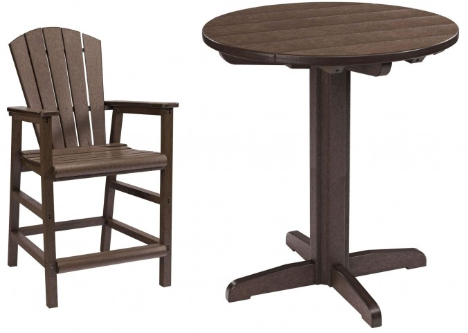 "Generations Chocolate 37"" Round Pedestal Pub Set"