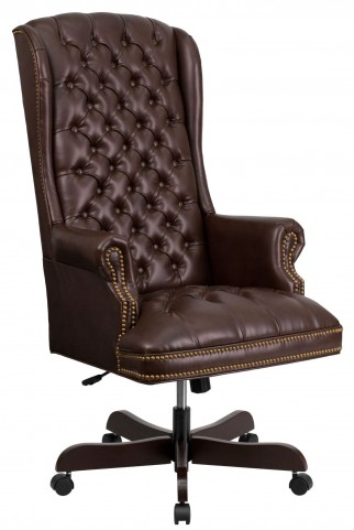 High Back Tufted Brown Executive Office Chair