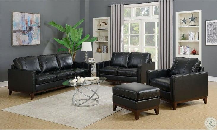 Clancy Black Leather Living Room Set