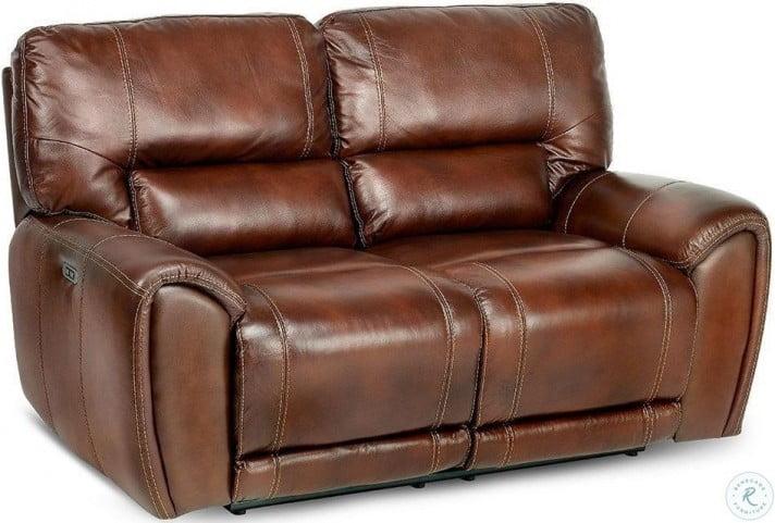 Peachy Clark Cognac Brown Leather Power Reclining Loveseat Machost Co Dining Chair Design Ideas Machostcouk
