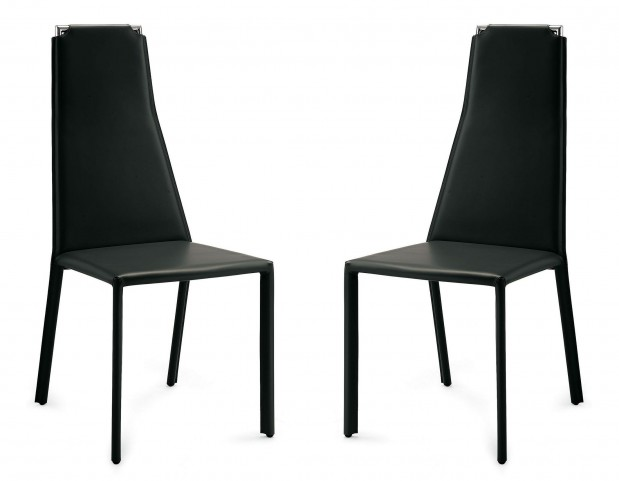 Cliff Black Leather Steel Chair Set of 2