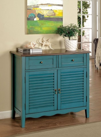 Oleida Cherry and Blue 2 Door Cabinet
