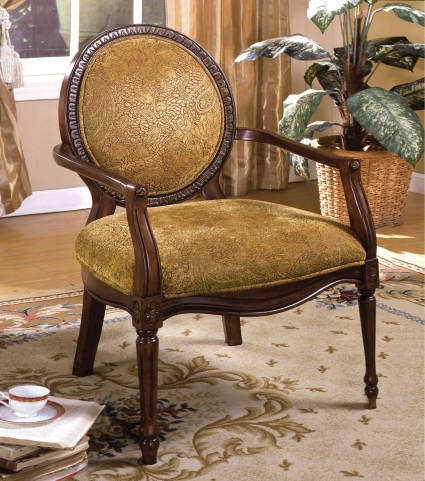 Hamilton Dark Oak Fabric Accent Chair