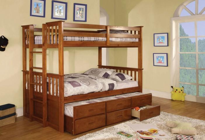 University I Oak Twin Over Twin Bunk Bed