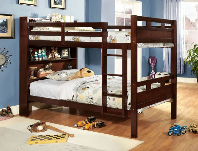Fairfield Dark Walnut Twin Over Twin Bunk Bed With Book Shelf