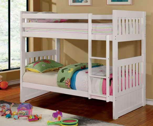 Canberra II White Twin Over Full Bunk Bed