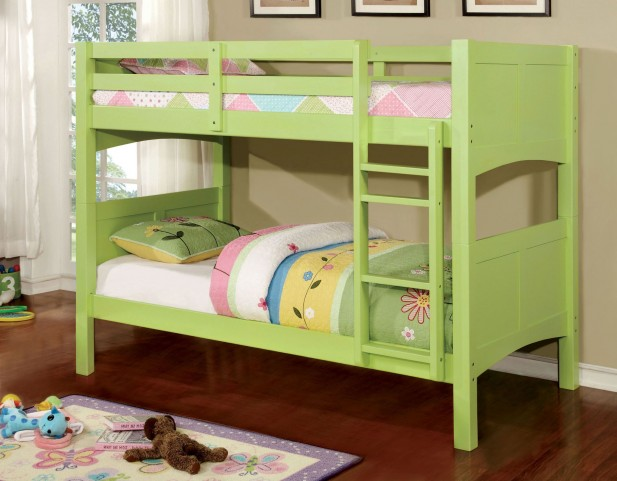 Prismo II Green Twin Over Twin Bunk Bed