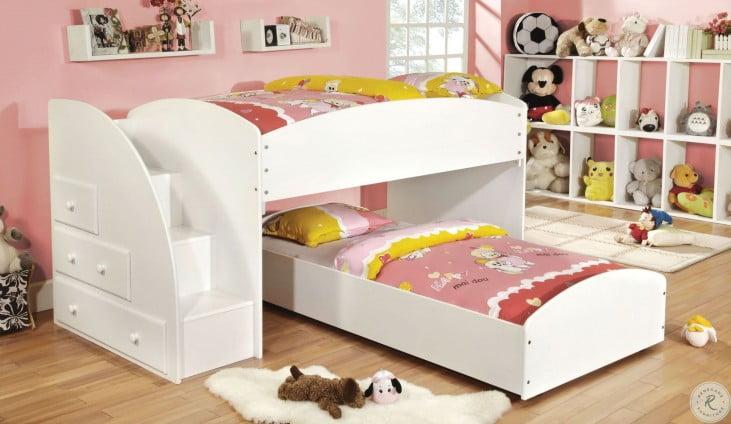Merritt White Twin Over Twin Bunk Bed