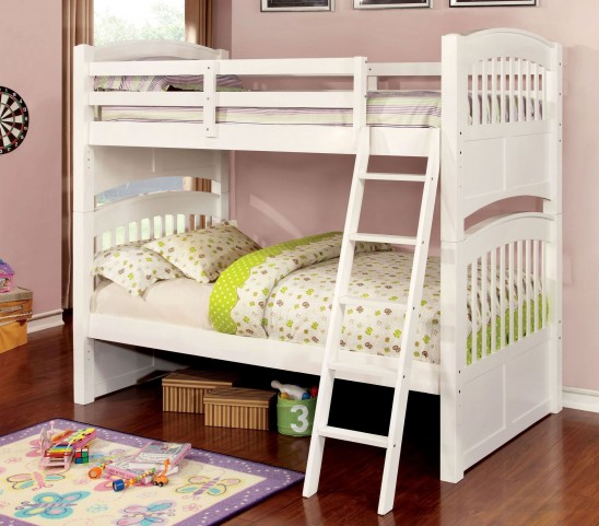 Cassia White Twin Over Twin Bunk Bed