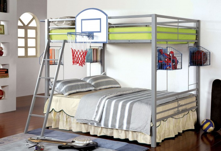 Athlete Light Gray Metal Full Over Full Bunk Bed