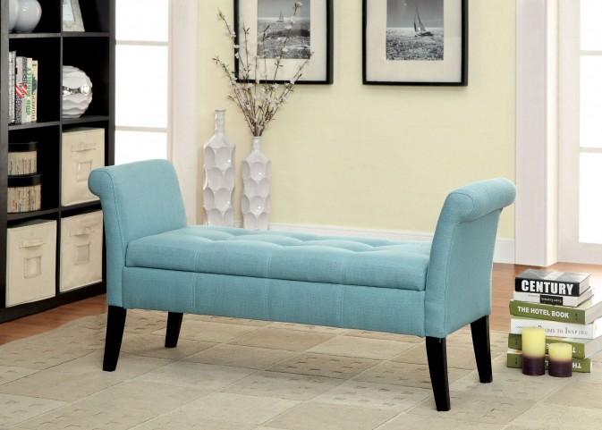 Doheny Blue Fabric Storage Bench