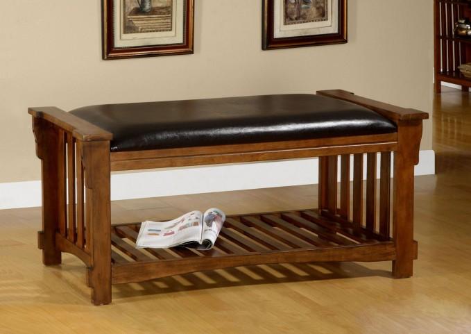 Salford Antique Oak Leatherette Bench