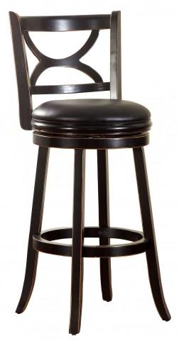 "Warden 29"" Antique Black Swivel Bar Stool"
