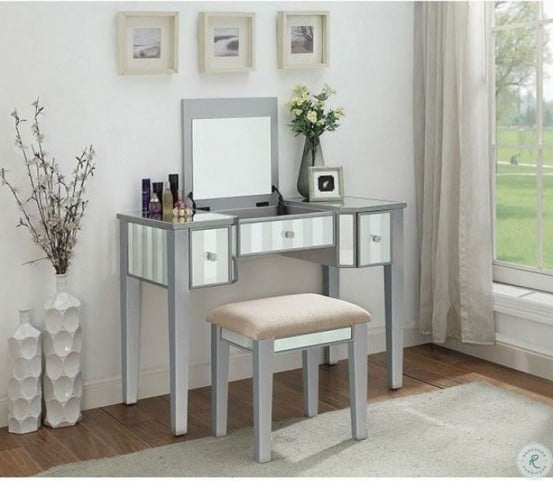 Joyce Silver Vanity with Mirror and Stool