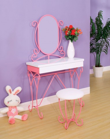 Enchant Pink & White Vanity With Stool