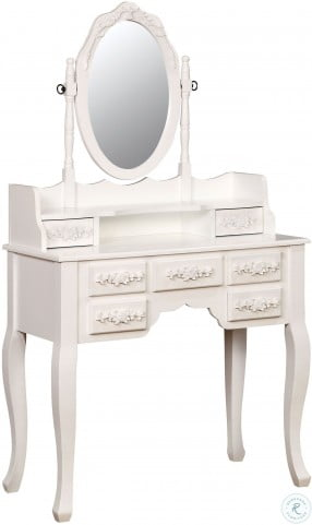Harriet White Vanity with Mirror and Stool