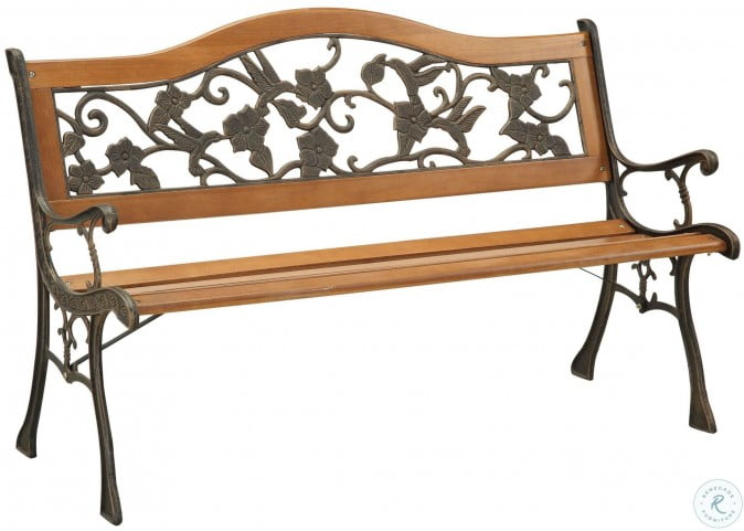 Alba Antique Antique Oak Park Outdoor Bench